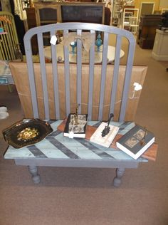 SOLD - Up-cycled crib bench - painted, antiqued & distressed - buy 1 or 2 at $99 each. ***** In Booth D15 at Main Street Antique Mall 7260 E Main St (east of Power RD on MAIN STREET) Mesa Az 85207 **** Open 7 days a week 10:00AM-5:30PM **** Call for more information 480 924 1122 **** We Accept cash, debit, VISA, MasterCard or Discover