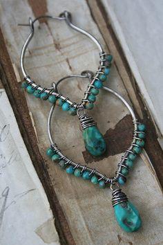 ❥ turquoise hoops