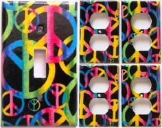 Peace Sign Pink Purple Yellow Light Switch Outlet Cover Set 1&4 Bedroom Decor