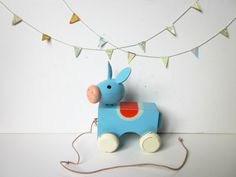 Vintage french wooden toy - handmade animal - Gift - children-1950
