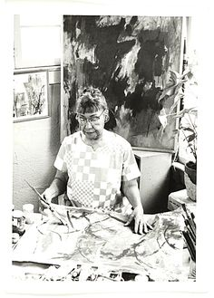 Citation: Alma Thomas working in her studio, ca. 1968 / Ida Jervis, photographer. Alma Thomas papers, Archives of American Art, Smithsonian Institution.