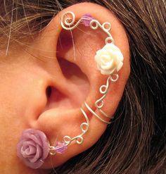 """Non Pierced Ear Cartilage Cuff  """"Roses are Soft"""" Silver tone Wedding Prom Bridal Ear Cuff"""