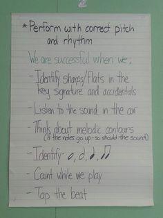 Year 1 beginning band success criteria