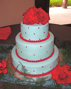 teal and red wedding cake