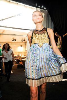 love this dress! Magdalena Frackowiak at Roberto Cavalli SS12 backstage