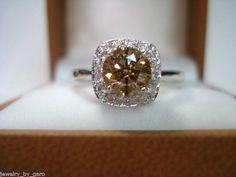 14K White Gold Champagne & White Diamond by JewelryByGaro on Etsy, $1850.00