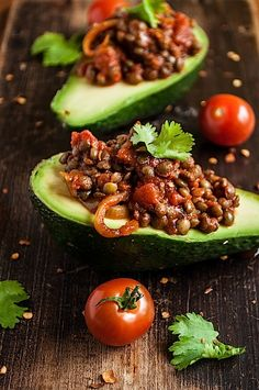 Avocado with smoky lentils