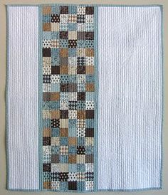 baby boy quilt. straight line quilting.