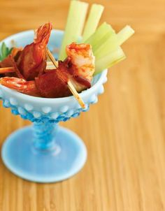 """Bacon-Wrapped Buffalo Shrimp Cocktail... ...Recipe by George Stella... ...For tons more Low Carb recipes visit us at """"Low Carbing Among Friends"""" on Facebook"""