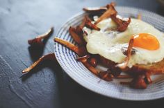 Chanterelle Mushrooms with Fried Eggs on Toast