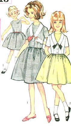 1960s Girls Summer Party Dress and Jacket Vintage Sewing Pattern, Sleeveless, Full Skirt, Simplicity 5815 Size 10 uncut