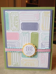 Catherine Loves Stamps: Precious Baby Ticket Collage Card