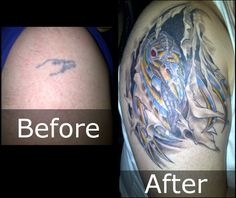 The Before tattoo was done when I was 18 and the After tattoo was done last year...