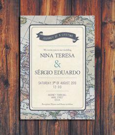 Travel Theme Wedding Invitation on Etsy, $50.00