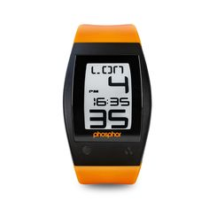 Orange sport watch with touch screen.