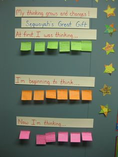 Using color coded stickies to show how thinking changes