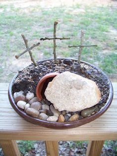 Resurrection Gardening at the Farm  @Erasmia Smith Psilakis Mrs. A said something about making this, I can't remember if it was with Goya or Catechism. I think this is something we can do with the kids after a lesson about Holy Week and His resurrection.