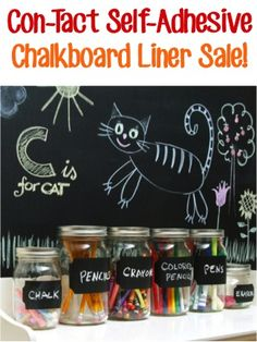 Con-Tact Self-Adhesive Chalkboard Liner Sale: $7.70! ~ add some fun flair to your home decor, gifts in a jar, and craft projects! #chalk #thefrugalgirls