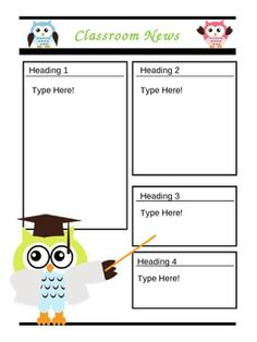 Editable owl theme classroom newsletter. Now 2 pages!! $1!