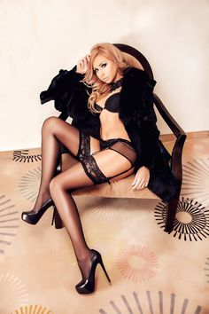 All black. Fur, heels, stockings and garterbelt. Stunning combo.