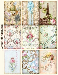 tattered vintage | ... Altered Art/ Tags Antique Wallpaper Collage Sheet Tattered Vintage 80
