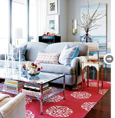 coffee tables, living rooms, rug, blue, color, small spaces, homes, live room, style at home