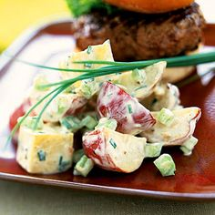 Heart Healthy Recipes for 2013—Two-Potato Salad With Mustard-Chive Dressing. Adding sweet potatoes to your traditional potato salad is a great way to get a boost of fiber and vitamin A. Try fat-free mayonnaise to cut back even more on fat.