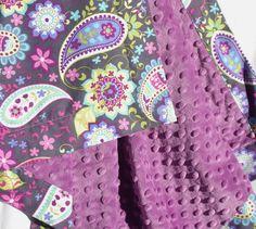 Baby Girl Minky Blanket- Michael Miller Purple and Gray Paisley with Amethyst Purple Minky. $36.00, via Etsy.