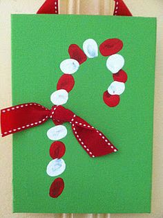 Fingerprint candy canes --- turn into ornaments by using green cardstock in shape of candy cane, then allow child to put their fingerprints on it. Punch a hole at the top and hang with ribbon!