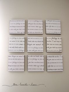 Printing the lyrics of your wedding song onto canvas!