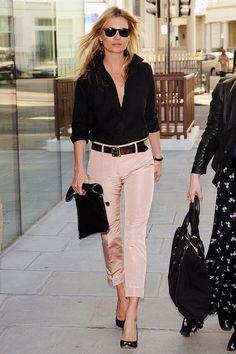 outfits, fashion, cloth, style, shirts, pink pants, blush, black, kate moss