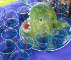Shark watermellon and Jello cups with fish- cute for a summer party!