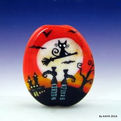 """IF THE BROOM FITS, FLY IT !"" byKAYO  Handmade CAT Lampwork Glass Focal Bead SRA #Lampwork"