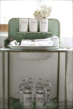 enamelwarewash stand, fidd bit, stand makeov, antiqu wash, decor idea, basin set