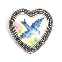 Vintage Blue Bird Broken China Jewelry Sterling Brooch Pin Pendant