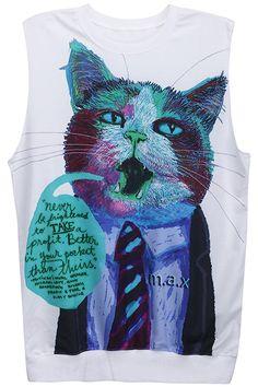 ROMWE | Thinking Cute Cat Blue Vest, #Romwe cats..