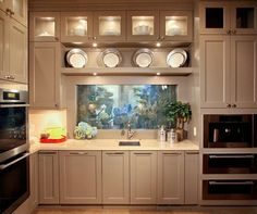 Grey cabinets, fish tank above the sink