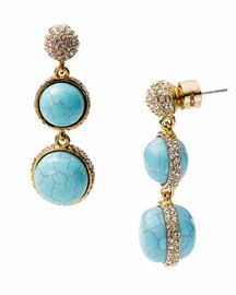 Michael Kors Turquoise Double Drop Earring with Pave Detail