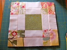 Disappearing 9 patch variation block with charm squares