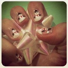 Snowman Nails snowman nail, festiv nail, holiday nail