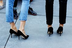 sexy black heels & denim