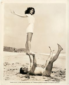 Burt Lancaster with a great view of Ava Gardner