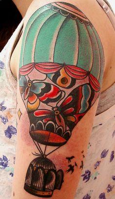 hot air balloon tattoo, love it