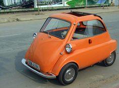 ride, orang car, first car, auto, bmw microcar, microcar vintag, bubbl car, mini car, bmw isetta