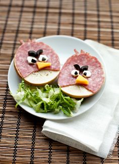 "Angry Birds Sandwiches.With ""real"" meat this would be awesome."