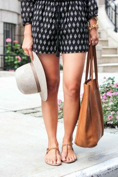 so cute! resort wear, summer hats, weekend outfit, black outfits, thong sandal, brown bags, outfits with flat shoes, romper, summer chic