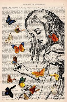alice story books, book art, old book pages, butterflies, vintage, journal pages, alice in wonderland, prints, art pieces