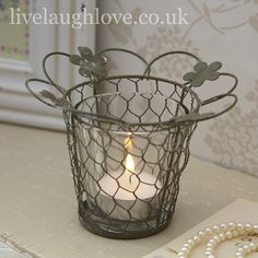 Wire Tealight Holder with Flowers £2.95