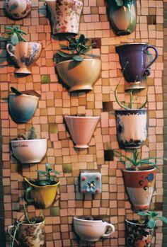 Mosaic wall with embedded teacups for a succulent garden.