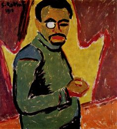 Karl Schmidt-Rottluff, Self-Portrait with Monocle. 1910. This painting was banned by the Nazi regime and exhibited at the Degenerate art exhibition in Munich in 1937.